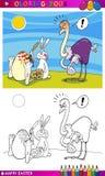 复活节兔子上色的幽默动画片 免版税库存图片