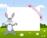 复活节兔子兔子水平的框架 免版税图库摄影
