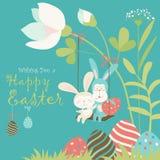 复活节兔子和复活节彩蛋 图库摄影