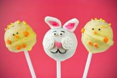 复活节兔子和小鸡蛋糕流行音乐 免版税库存图片