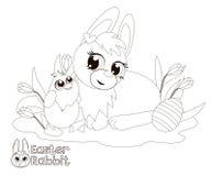复活节兔子和小鸡 书五颜六色的彩图例证 库存图片