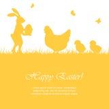 复活节兔子和鸡 免版税库存图片