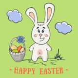 复活节兔子手拉的卡片 免版税库存照片