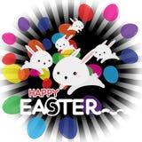 复活节兔子用复活节彩蛋 免版税库存图片