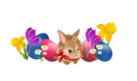 复活节兔子用鸡蛋和花 向量例证