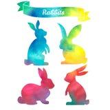 复活节兔子设置了 手拉的剪影和水彩例证 库存照片