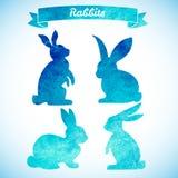 复活节兔子设置了 手拉的剪影和水彩 免版税图库摄影