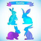 复活节兔子设置了 手拉的剪影和水彩illustra 免版税图库摄影