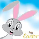 复活节兔子设计 在美丽的天空的愉快的复活节天 在白色背景隔绝的复活节天 库存照片