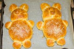 复活节兔子面包 免版税图库摄影