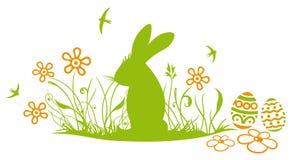 复活节兔子,草甸 向量例证