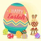复活节兔子绘画鸡蛋 免版税库存图片