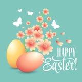 复活节卡片用鸡蛋和花 向量 免版税库存图片