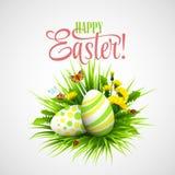 复活节卡片用鸡蛋和花 向量 库存照片