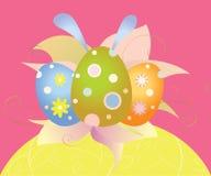 复活节卡片用鸡蛋和花 免版税库存图片