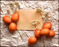 复活节卡片,复活节彩蛋,减速火箭的春天背景 库存照片