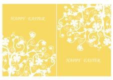 复活节天,在黄色背景,传染媒介例证的白花 库存图片