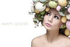 复活节妇女。有时尚发型的春天女孩 免版税库存图片