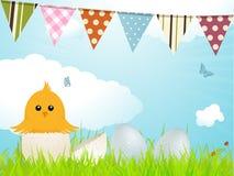 复活节小鸡和旗布 免版税库存照片