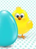 复活节小鸡和鸡蛋在被加点的背景 向量例证