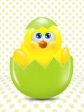 复活节小鸡从在小点背景的鸡蛋孵化了 库存例证
