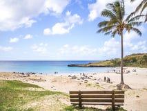 复活节岛海滩 免版税库存图片