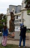 从复活节岛的石moai雕象在比尼亚德尔马 免版税库存照片