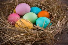 复活节巢用色的鸡蛋 免版税库存照片