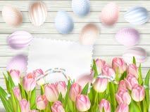 复活节彩蛋、郁金香和空的葡萄酒卡片 10 eps 库存照片