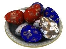 复活节彩蛋上色与金子。 免版税图库摄影