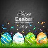 复活节彩蛋和五彩纸屑 免版税库存照片