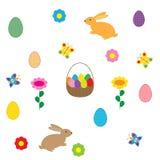 复活节彩蛋和兔子在白色背景 库存照片