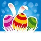 复活节彩蛋和兔宝宝耳朵在蓝色背景 免版税图库摄影