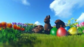复活节彩蛋和巧克力兔宝宝在绿色草甸有五颜六色的郁金香的 库存例证