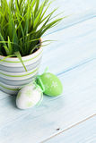 复活节彩蛋和盆的植物 库存图片