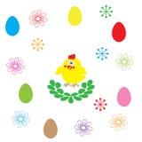 复活节彩蛋和花在白色背景 库存图片