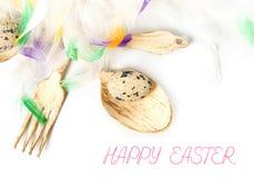 复活节彩蛋和鸡 免版税库存照片
