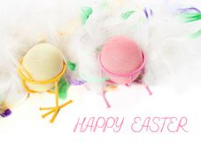复活节彩蛋和鸡 免版税库存图片