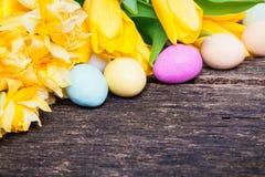 复活节彩蛋和黄水仙在木头 库存图片