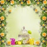 复活节彩蛋和滑稽的兔宝宝在抽象背景 免版税图库摄影