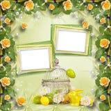 复活节彩蛋和滑稽的兔宝宝在抽象背景 库存照片