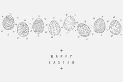 复活节彩蛋在乱画样式的象汇集 拉长的现有量 免版税图库摄影