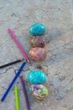 复活节彩蛋嬉皮样式 库存图片