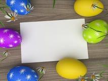 复活节彩蛋展示礼物标记和空白 免版税图库摄影