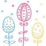 复活节彩蛋手拉的乱画装饰品,排行无缝的样式,传染媒介例证 免版税库存图片