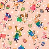 复活节彩蛋无缝模式的兔子 免版税库存图片