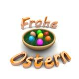 在篮子的复活节彩蛋。 复活节快乐 免版税库存照片