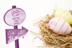 复活节彩蛋狩猎标志的综合图象 库存图片