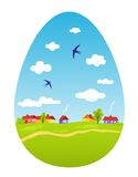 以复活节彩蛋的形式春天风景 免版税库存图片