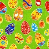 复活节彩蛋的无缝的多彩多姿的样式 库存例证